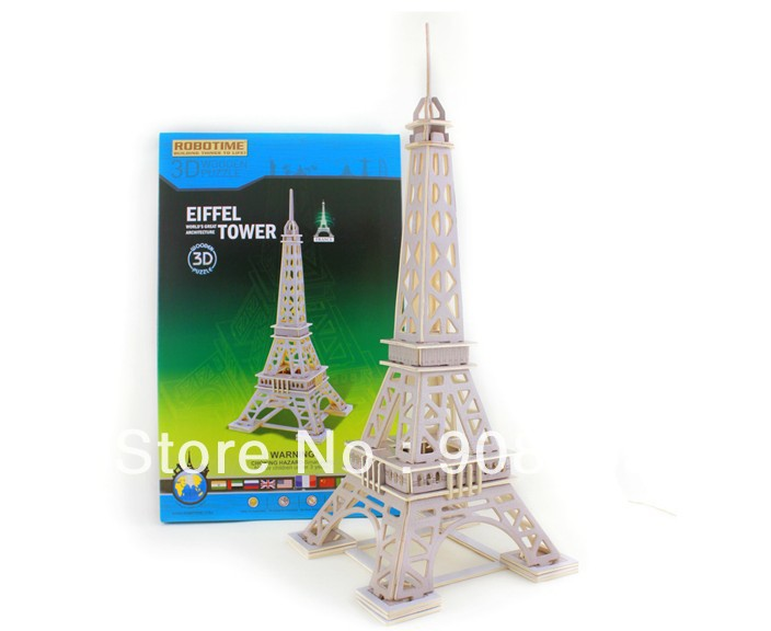 Free Shipping 3D Wooden Jigsaw Puzzle Toys Eiffel Tower Wholesale(China (Mainland))