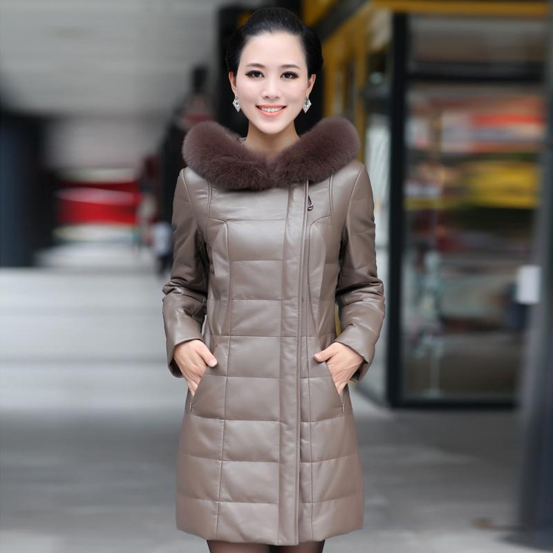 Autumn Winter Women's Genuine Sheepskin Leather Parkas Coat Fox Fur Hoody Female Outerwear VK1111 - BESTOPPO Foreign Trade Co., Ltd. store