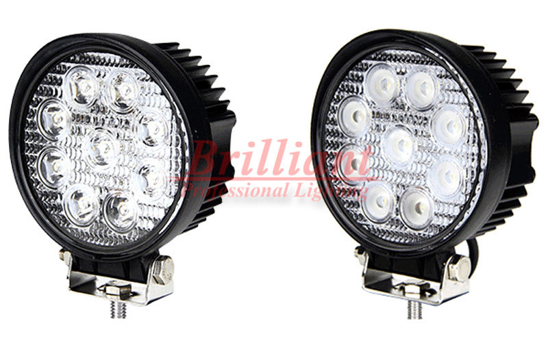 1PCS 4INCH 27W ROUND SQUARE LED WORK LIGHT 12V 24V SPOT BEAM FOR 4x4 OFFROAD ATV