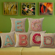 English letters printed cotton pillow case