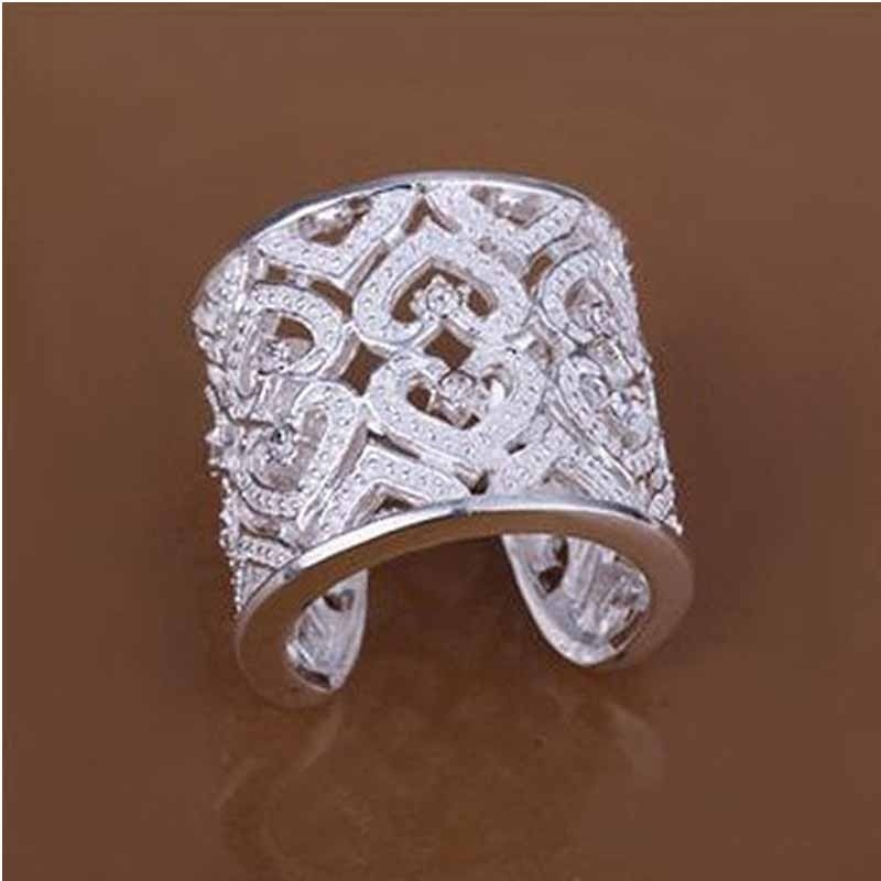 Women's Fashion Hollow Solid Silver Plated Crystal Opening Ring Wide Band Ring FREE SHIPPING(China (Mainland))