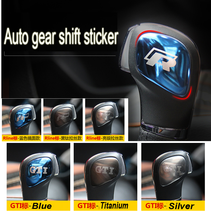 Stainless Steel R RLINE Car gear shift decoration sticker for volkswagen VW GTI Golf 6 7 POLO BORA Lamand Sagitar LAVIDA(China (Mainland))