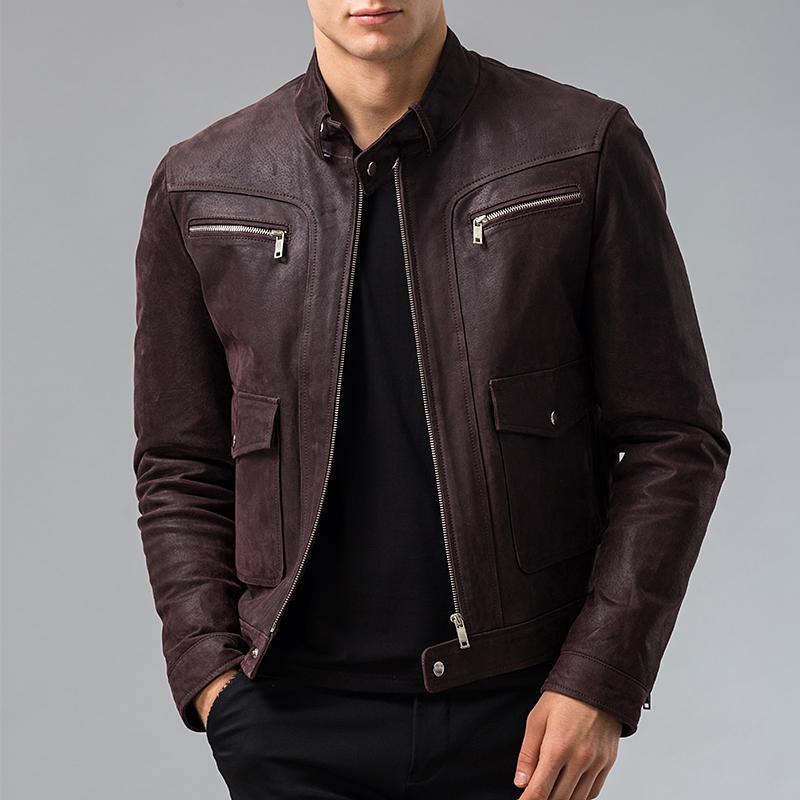 Men's Genuine Leather jacket Pigskin real leather jacket men motorcycle leather coat S-6XL big size(China (Mainland))