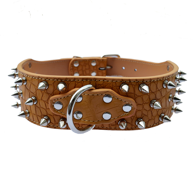 Designer Pet Dog-Collar 2 Inch Wide Croc Leather Spiked Collars For Pitbulls Dogs Size M L XL XXL Pet Products