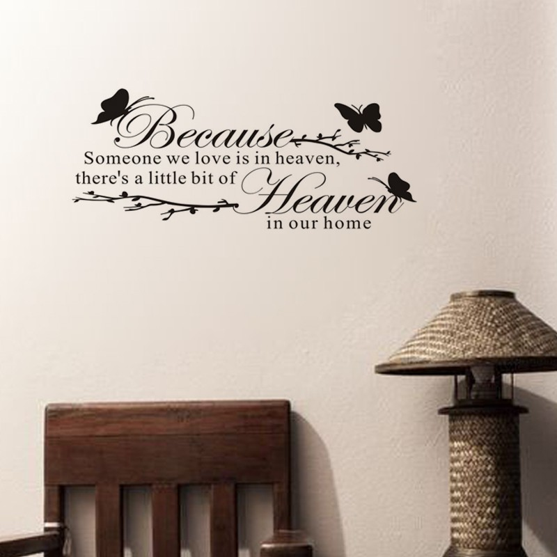 Free shipping: BECAUSE SOMEONE WE LOVE IS IN HEAVEN Vinyl Art Words Kids Wall Stickers Home Decoration