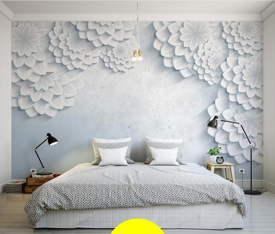 Custom modern minimalist white 3d flower photo mural for 3d wall murals for bedrooms