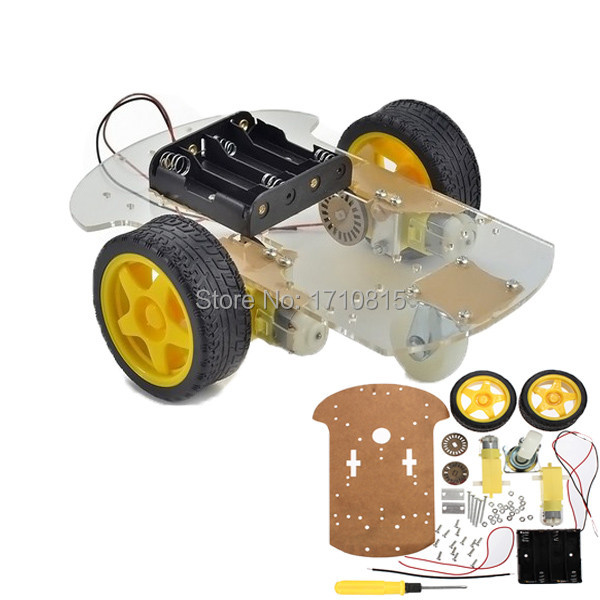 Wholesale High Quality 2wd Motor Smart Robot Car Chassis Kit Speed Encoder Battery Box For Arduino(China (Mainland))
