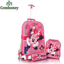 Kids Minnie Mouse Suitcase Rolling Luggage+School Backpack Set 3 PCS Children School Bag Carton Pencil Case Girls Travel Bag(China (Mainland))