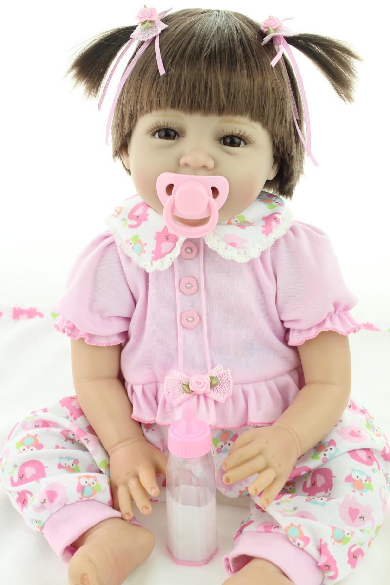 Silicone reborn baby doll toys for girl, lifelike reborn babies play house toy birthday gift girl brinquedods pink princess doll(China (Mainland))