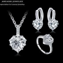 ANFASNI 2016 New Romantic Wedding Jewelry Set Zircon Heart Shape Parure Earring/Necklace/Ring Women Jewelry Set CST0033-B(China (Mainland))