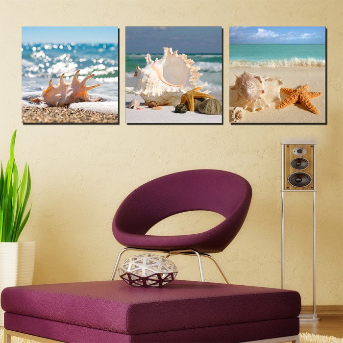 3 Pieces/set Wall Art Modern Print Canvas Paintings Sea Beach Shell Starfish Wall Pictures For Home Decor Frameless(China (Mainland))