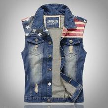 New Men's Denim Vest Brand Jeans Vest Men Cowboy Vest Denim Sleeveless Jacket Free Shipping WM0009 Asian/Tag Size M-3XL(China (Mainland))