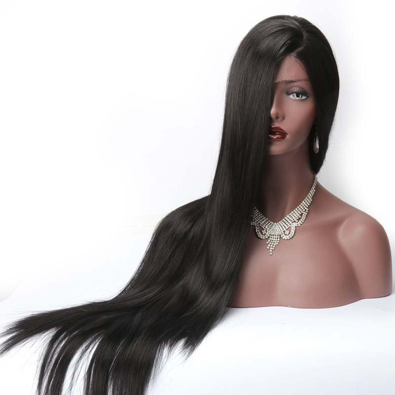 COLODO Long Silky Straight Lace Front Wigs Synthetic Black Women Heat Resistant L Part Natural Afro American Wigs 1B Color