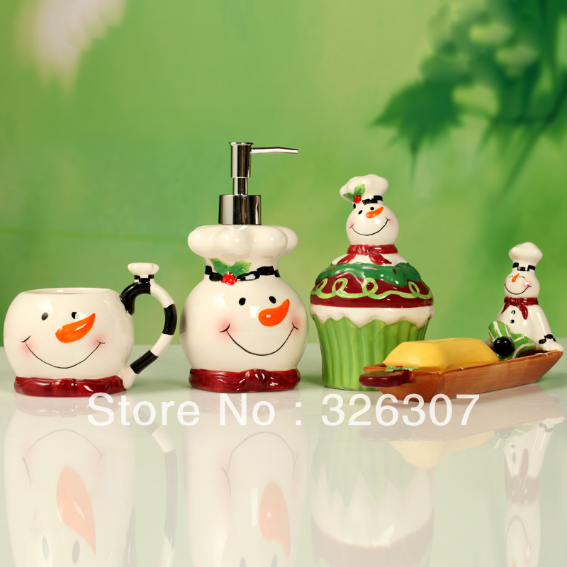 European Christmas snowman bathroom set 4 painted ceramic sanitary ware wedding housewarming portfolio(China (Mainland))