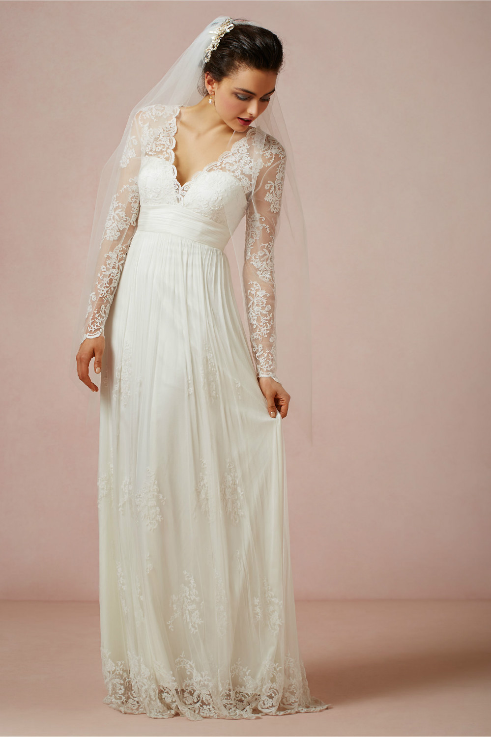 2014 New Design White Ivory V Neck Lace Sheath Chiffon Long Sleeve Wedding Go
