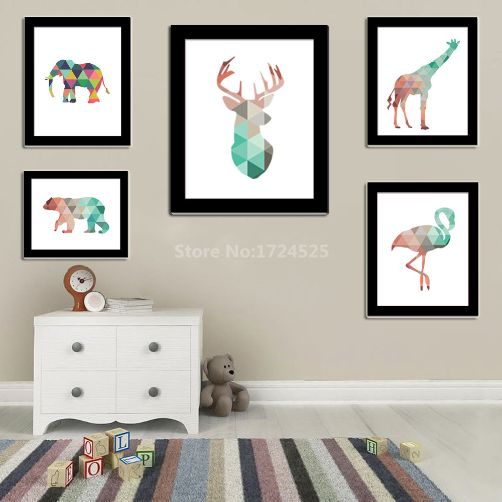 Funlife Geometric Coral Deer Giraffe Bear Elephant Animal Canvas Art Print Poster Wall Pictures For Baby Kids Home Decoration(China (Mainland))