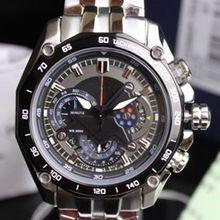 Hombres cuarzo analógico reloj cronógrafo fecha taquímetro 24 horas Display acero inoxidable reloj de pulsera