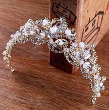 2018 חדש אופנה הבארוק יוקרה קריסטל AB כלה כתר מצנפות אור זהב ניזר מצנפות חתונת כלה נשים שיער אבזרים(China)