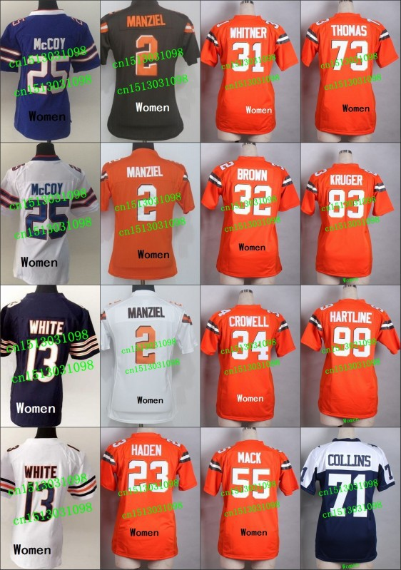 Women Chicago #13 Kevin White Jersey Blue 2015 New Authentic Stitched Lady Football Jerseys Ladies Woman Girl Jersey(China (Mainland))