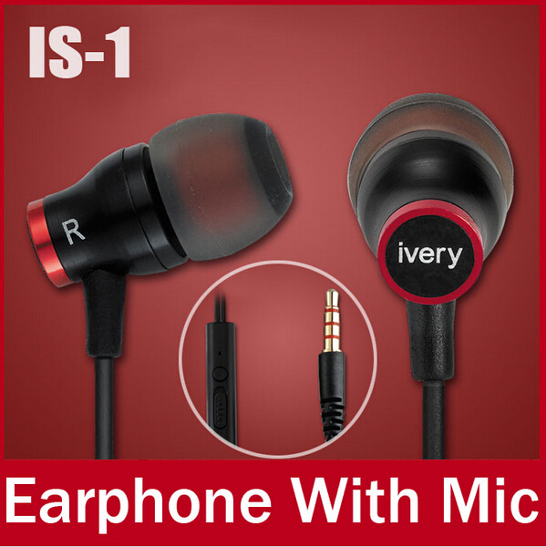 IS-1 2014 New Brand InEar Earphone with Mic For iPhone/Samsung/Xiaomi/htc/sony/one plus/lenovo/huawei Noise Canceling Headphones(China (Mainland))