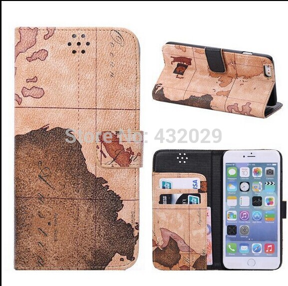 New PU Leather phone bag case for 5.5inch iphone6 world map pattern cover flip folio cases For iphone 6 Card holder free shippin(China (Mainland))