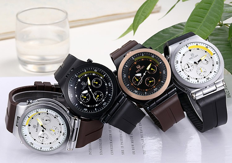 Megir новая мода светящиеся мужские часы повседневная аналоговый кварцевые наручные часы человек наручные часы силиконовые мужчины час часы горячая 3003