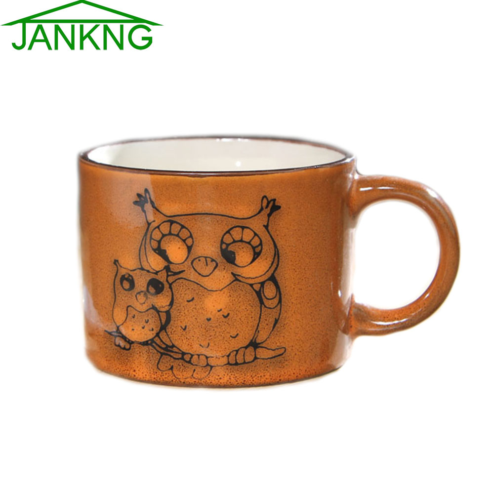 JK Home 300mL Owl Mother Baby Ceramic Mugs Cup Novelty Hand Painted Coffee Mug Cup Gift Tea Cup Elegance Brown Color Milk Mugs(China (Mainland))