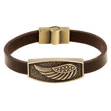 Vintage Retro Pulseira Homens Masculina Couro Male Cool Leather Wing Bracelet Biker Mens Steampunk Leather Jewellery