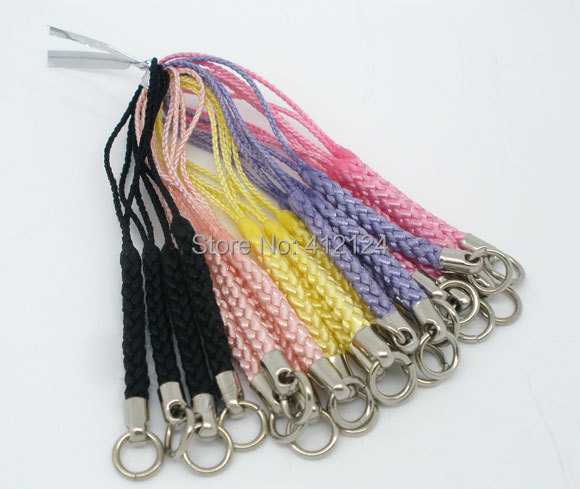 300Pcs Mixed Mobile Cell Phone Lanyards Straps Braided Plaited Cord Ring Component 80mm(China (Mainland))