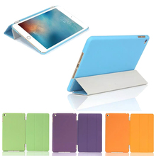 Ultra Slim Smart Case for iPad Mini 4 Soft PU Leather + Cover Hard Plastic Solid Color Shell 2 in 1 Tablet case(China (Mainland))
