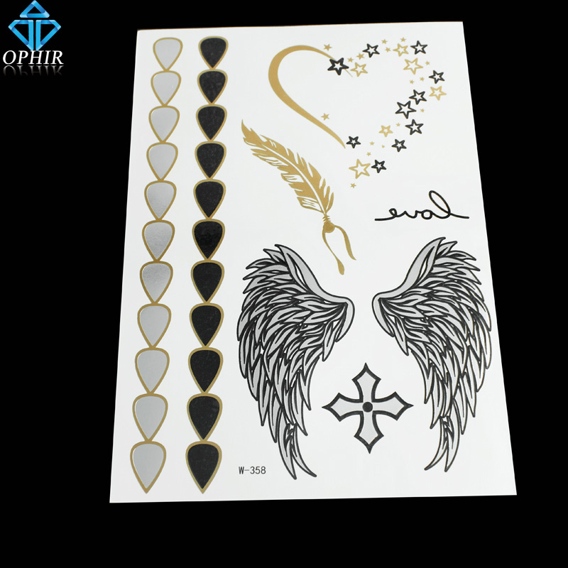 OPHIR Flash Tattoo Sexy Wings Golden Metallic Gold Tattoos Temporary Body Tattoo Stickers _MT061(China (Mainland))