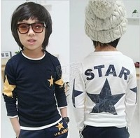 High quality HOT 2015 Spring & Autumn Children's 100% Cotton Boy Girl Clothes Long Sleeved Star T- Shirt Kid's TopsTees 5sizes