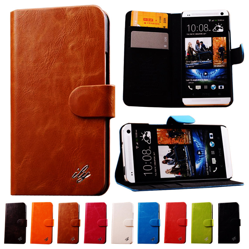 Luxury Retro Wax PU Leather Case for HTC One M7 Wallet Style With Card Holder and Stand Phone Case(China (Mainland))