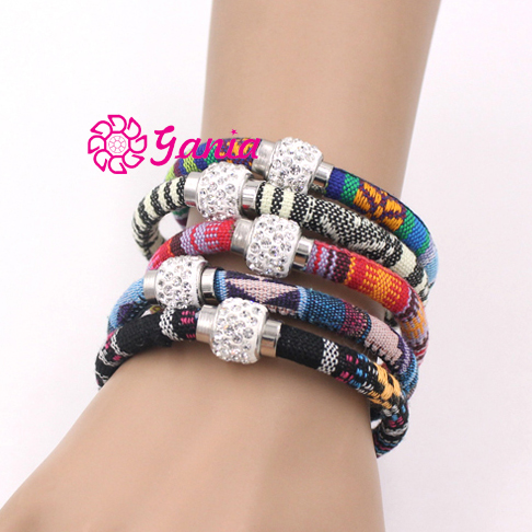 10pcs/lot New 9 Colors Magnectic Bracelet Crystal Disc Ball Ethnic Mexican Style Cotton Rope Bracelet Bijoux Pulsera(China (Mainland))