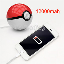 Factory Sale:12000mAh Pokemon Go Ball II Power Bank Magic Ball Charger Double USB Port 2.4A Fast Charger Retail Box USB Cable
