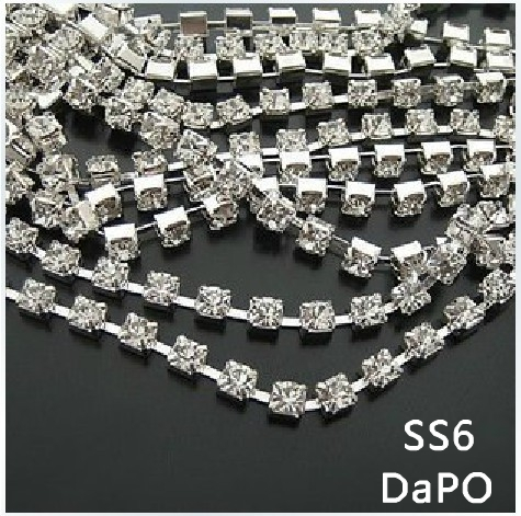 4.4 Meters SS6 (2.0-2.1mm) 1440pc Rhinestone Silver Plated Metal Crystal Rhinestone Cup Chain(China (Mainland))
