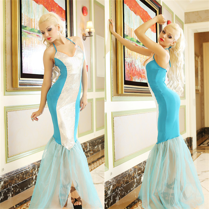 New and Real Shot Luxury Blue Mermaid Cosplay Costumes Halloween Masquerade Sexy Mermaid Role Play Dress H1561814(China (Mainland))