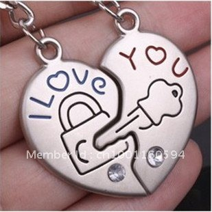 "Free shipping (40PR/LOT )Wholesale    ""I Love you"" Heart Shape Lock Lover Couple Keychain Keyfob valentine Gift"