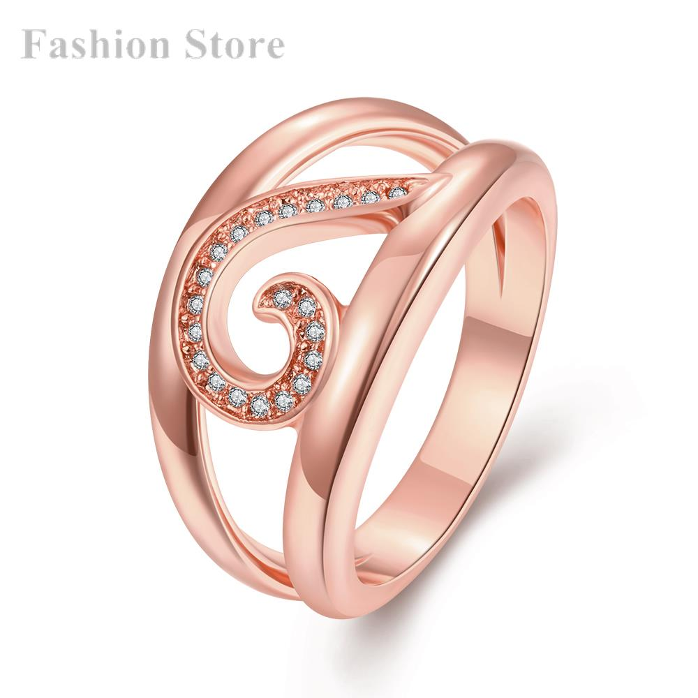 Rose Gold/Yellow Gold Plated Finger Ring 18K Plating Flower White Zircon Rings Women Party R266-B-8 - Fashion Jewels for store