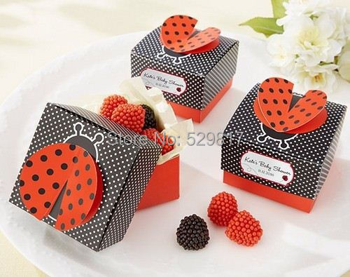 "Free Shipping 50Pcs/Lot Party Decorations candy box""Cute as a Bug"" 3-D Wing Ladybug Baby Shower Wedding Favor Box Candy Boxes(China (Mainland))"