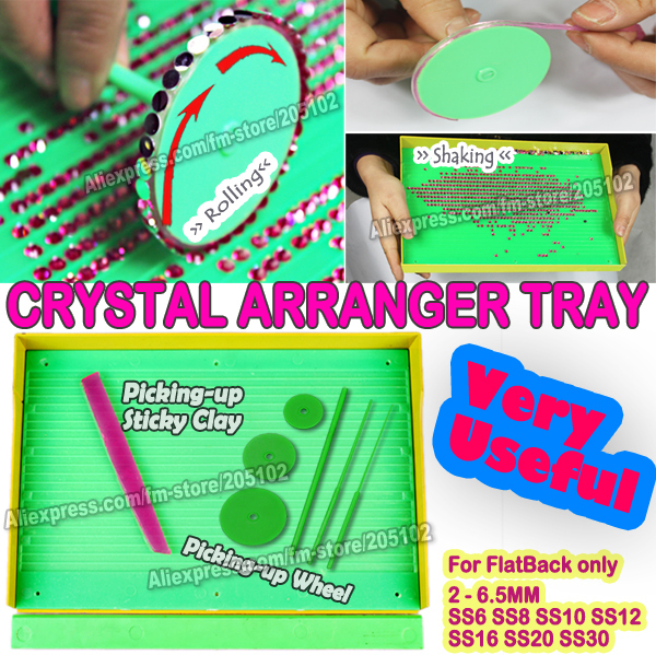 Very Useful !Crystal Arranger Tray Set for HotFix &amp; non hot fix FlatBack Rhinestones,picking up nail stones DIY tools accessory<br><br>Aliexpress