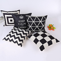 Geometric Sofa Throw Pillows Decorative Vintage Retro Linen Cushion Covers Striped Capas De Almofada Geometric Sofa