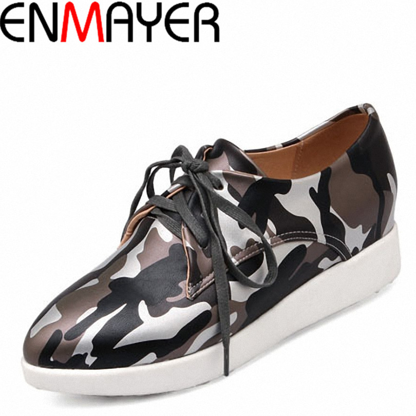 ENMAYER women flats Women Shoes Round toe  Lace Sole Spring Summer Solid Flats Platform shoes fashion ladies flat shoes<br><br>Aliexpress