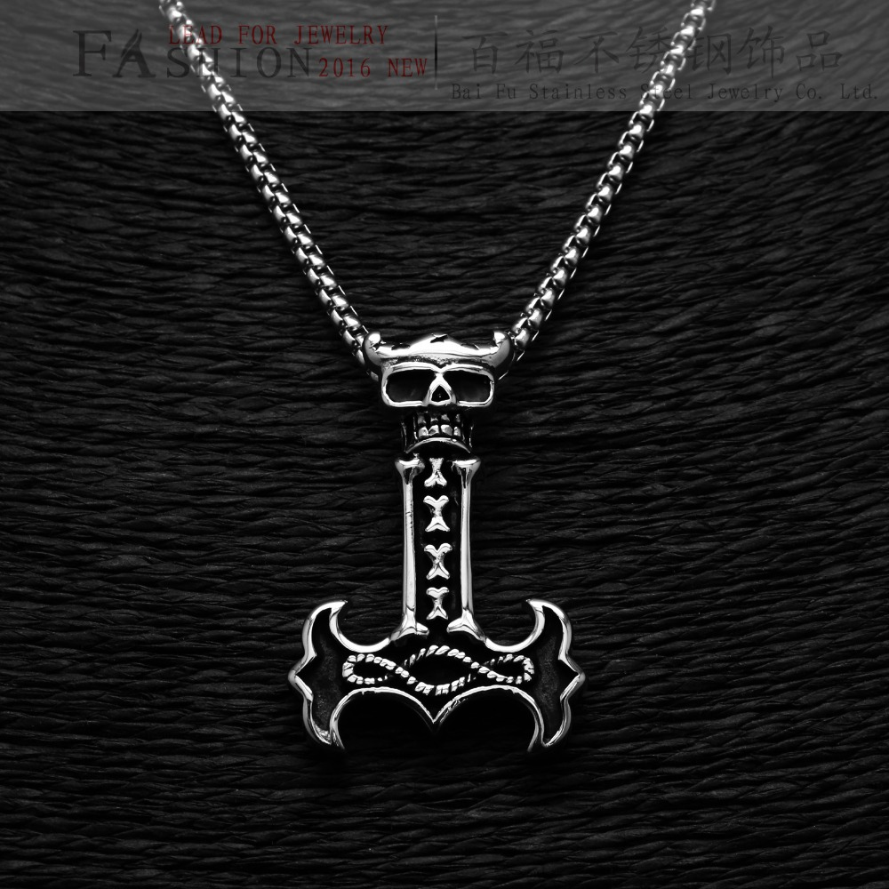 Hiphop Skull Necklace Stainless Steel Black Silver Skull Pendant Skeleton Man Personalized Jewelry(China (Mainland))