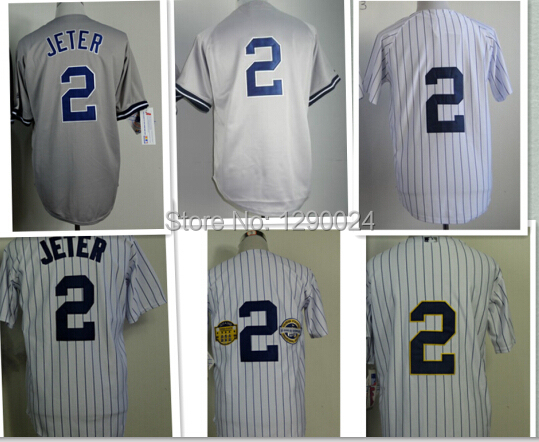 Discount  #2 Derek Jeter Jersey White Pinstripe Grey Gold Stitched Cool Base New York Jerseys Free shipping Derek Jeter Jersey<br><br>Aliexpress