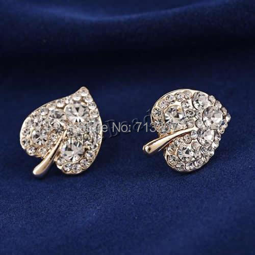 Free shipping!!!Zinc Alloy Stud Earring,Jewellery, stainless steel post pin, Leaf, rose gold color plated<br><br>Aliexpress