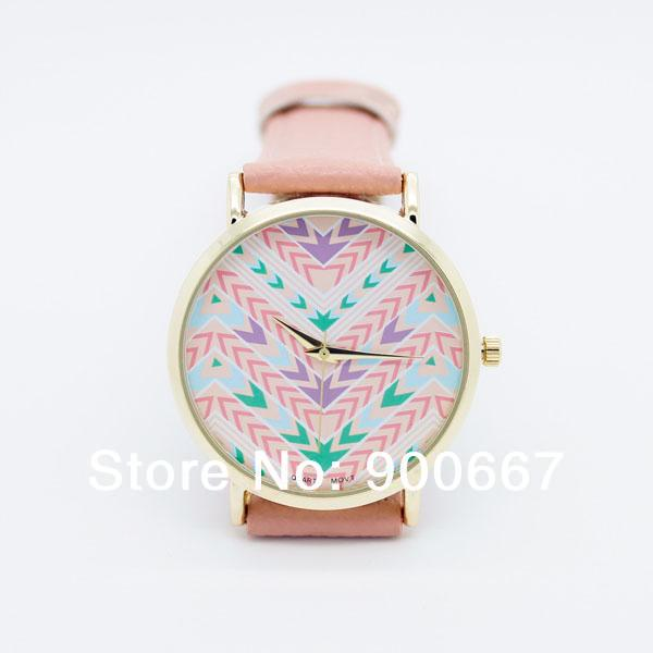 2014 Geneva Brand Womens Vogue Aztec Colorful Stripes Arrows Strap Watch Fashion Ladies Girls Rose Gold Dress - watch shop 900667 store