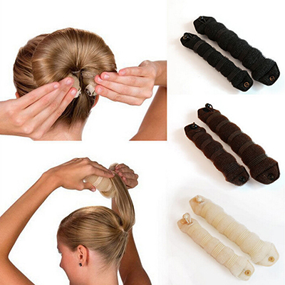New Fashion 2pcs Sponge Hair Styling Donut Bun Maker Chrismas Magic easy using Former Ring Shaper Styler Tool 3 colors