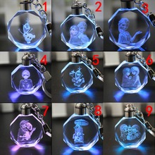 1pcs Colorful LED Crystal Keychain Anna Elsa Olaf KeyRing Gifts Action toy figure 18 style(China (Mainland))