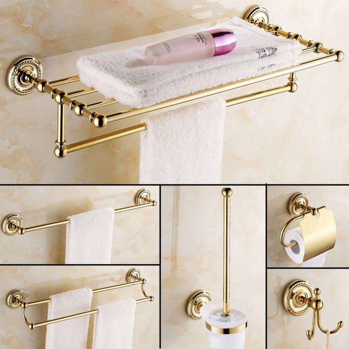 Antique gold bathroom accessories aliexpress buy europe for Gold bathroom accessories sets